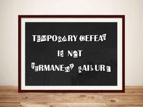 Temporary Defeat Motivating Wall Art