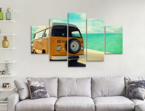 Vintage VW Seascape Split Panel Wall Art
