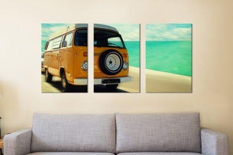 Ready to Hang Vintage VW 3-Panel Artwork