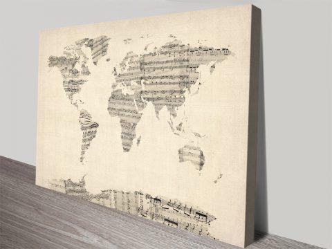 Vintage Style Sheet Music World Map Art