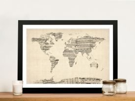 Vintage Sheet of Music Map of the World