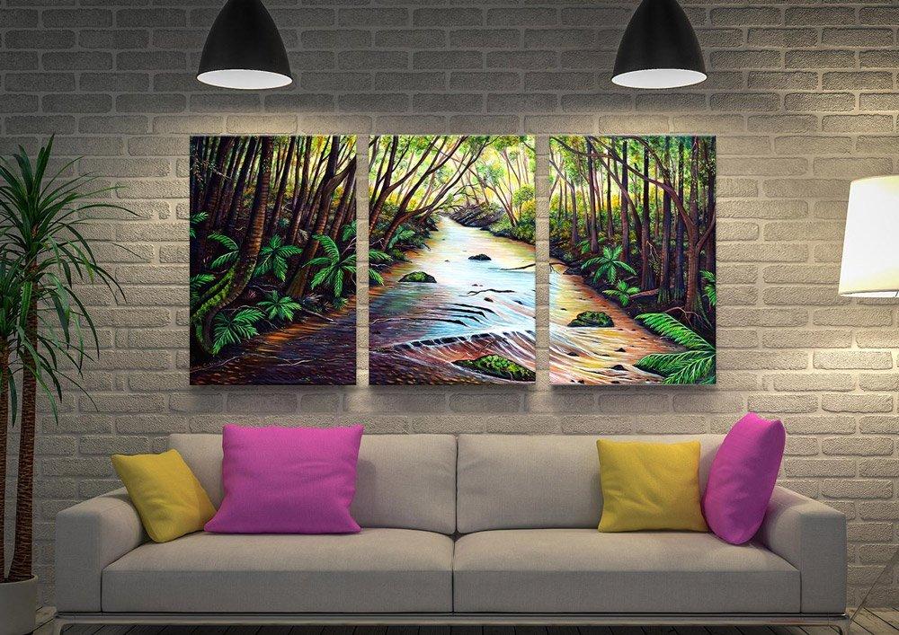 Blue Mountains Creek Triptych Art
