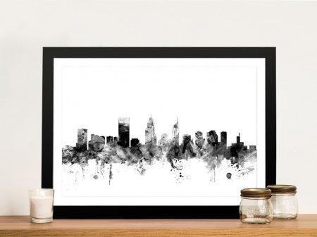 Perth Watercolour Skyline in Grey Tones