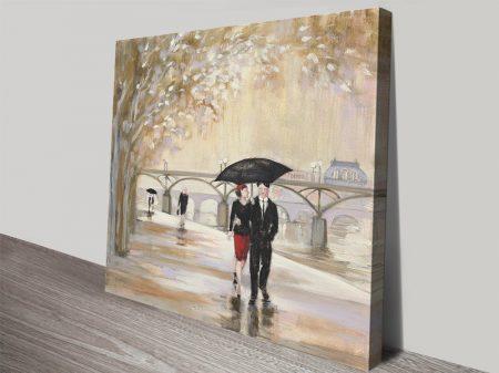 Romantic Paris lll Stretched Canvas Print
