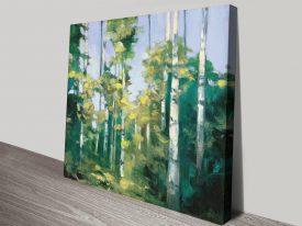 Birches Fine Art Watercolour Canvas Print