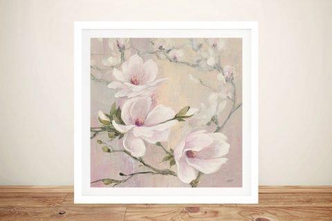 Blushing Magnolias Framed Print on Canvas
