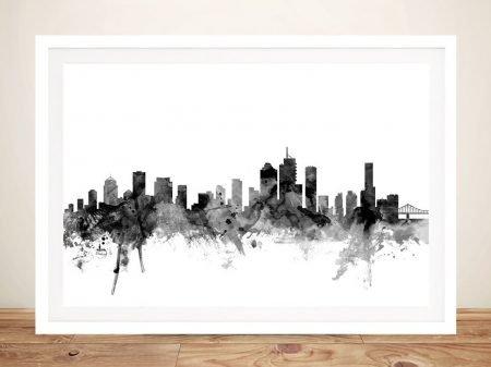 Brisbane Watercolour Skyline Art in Greys
