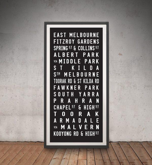 Framed Melbourne Tram Scroll in Black & White