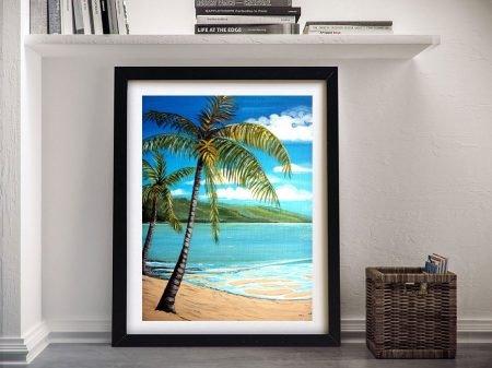 Palm Trees Framed Beachscape Artwork