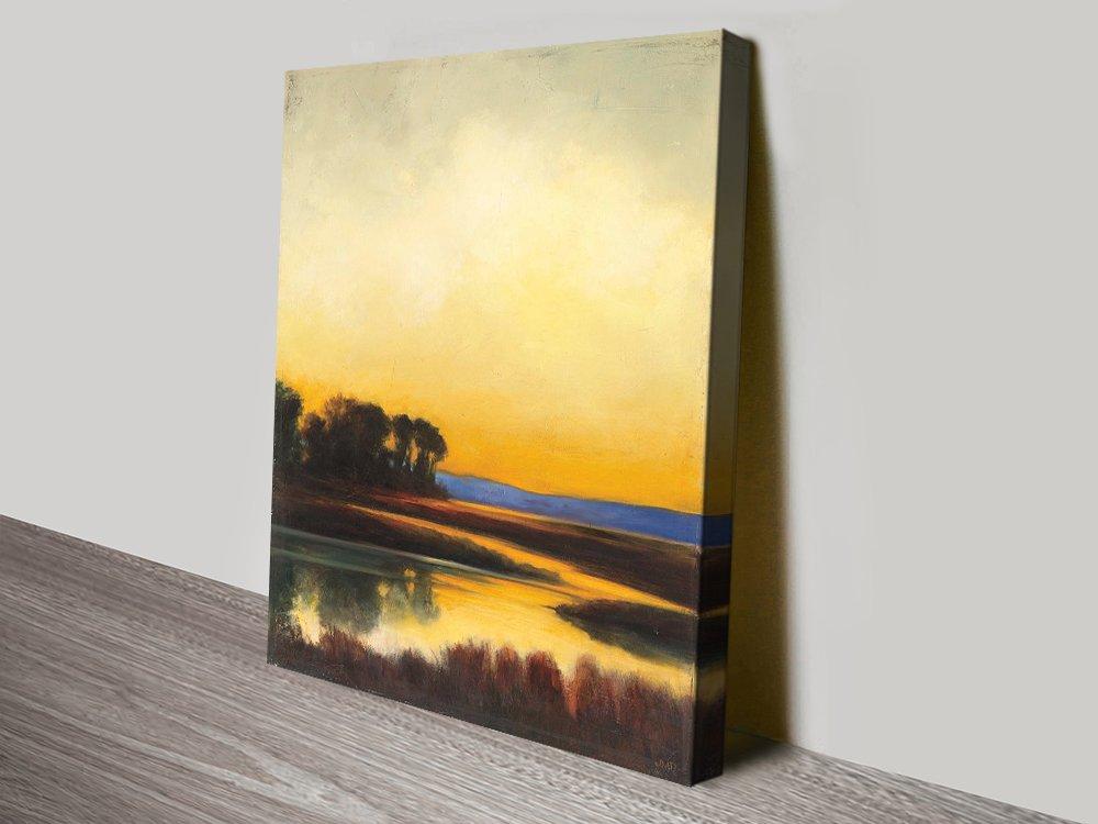 Yellow Twilight Landscape Art on Canvas