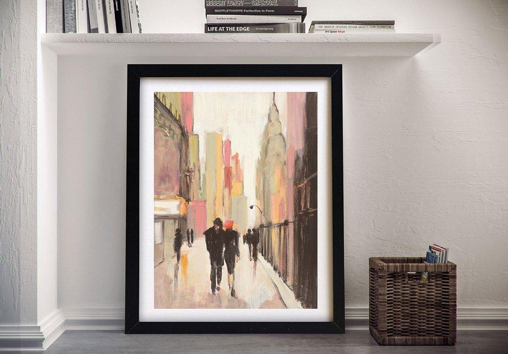 City Stroll Framed Cityscape on Canvas