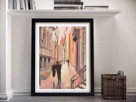 Village Promenade Framed Cityscape Art