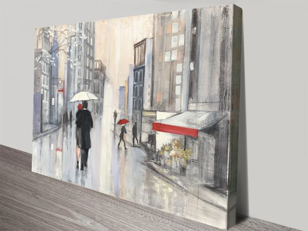Spring Rain in NY Stretched Canvas Art