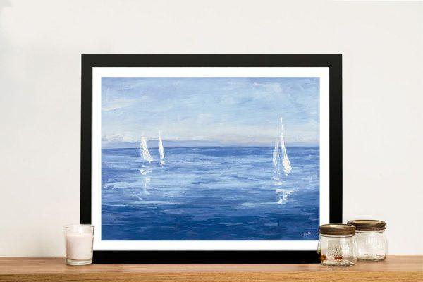 Open Sail Framed Ocean Watercolour Art AU