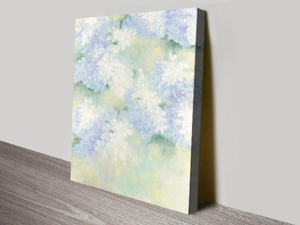 White Lilacs Stretched Canvas Floral Print AU