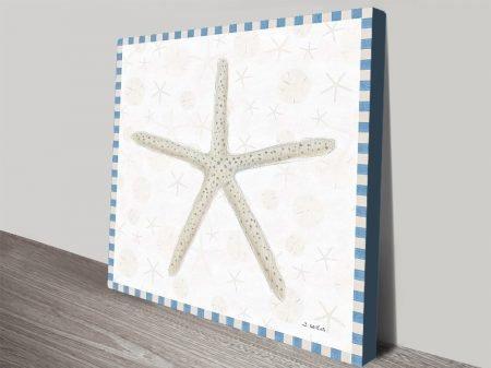 Beach Days lll Stretched Canvas Starfish Art
