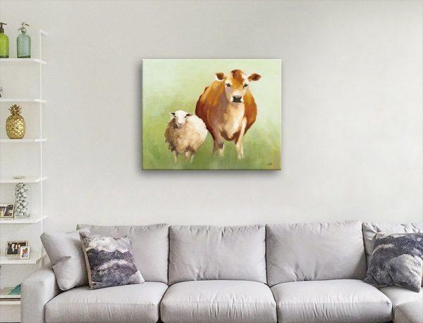 BFF ll Cow & Sheep Art Unique Home Decor AU