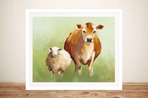 BFF ll Framed Farm Animals on Canvas
