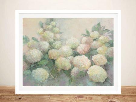 Annabelle Hydrangeas Framed Canvas Print