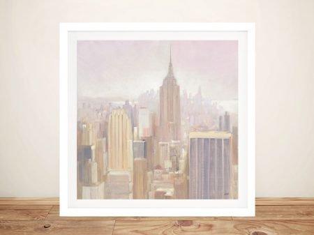Manhatten in the Mist Framed Canvas Art