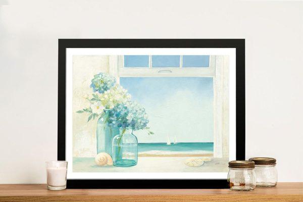 Seaside Hydrangeas Framed Floral Art Print