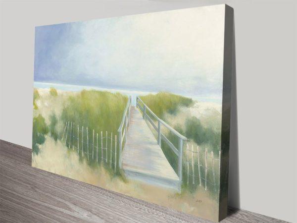Beach Walk Watercolour Print on Canvas