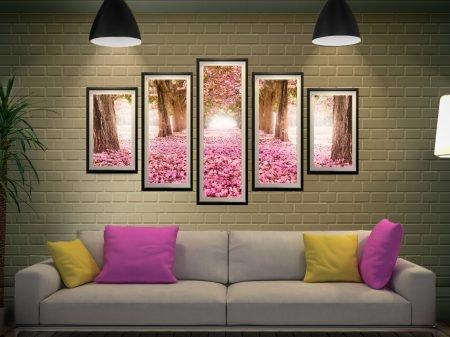 Path of Flowers Split Diamond Floral Artwork