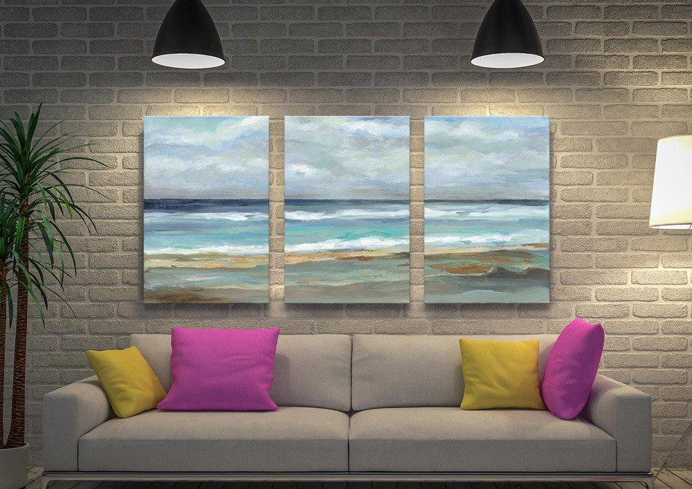 Ready to Hang Seascape Watercolour Triptych Art