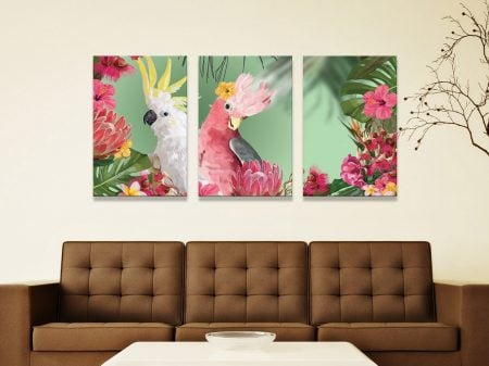 Galah & Cockatoo 3-Panel Canvas Art Set