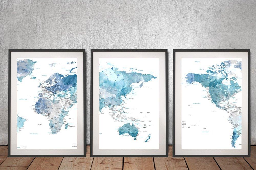 Blue Australia Centred Split Panel World Map