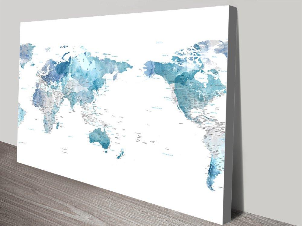 Blue Watercolour Australia Centred World Map