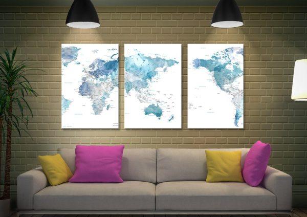 Australia Centred Blue Watercolour World Map AU