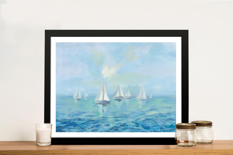Boats in the Haze Framed Seascape Art