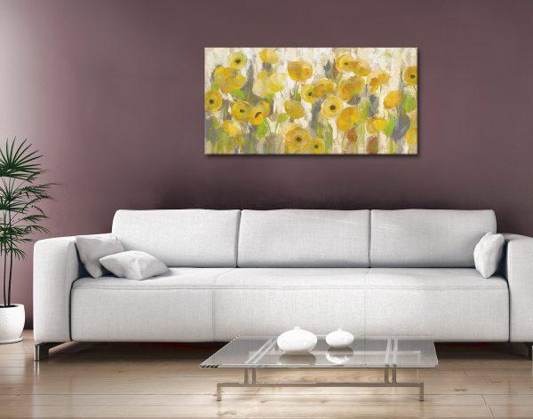 Floating Yellow Flowers Panoramic Art Print