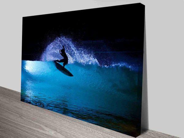 Night Surf Sports Fans Art on Canvas