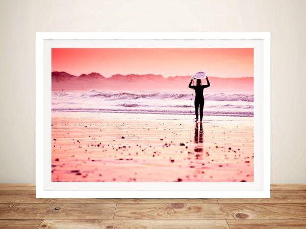 Pink Surf Framed Print on Canvas