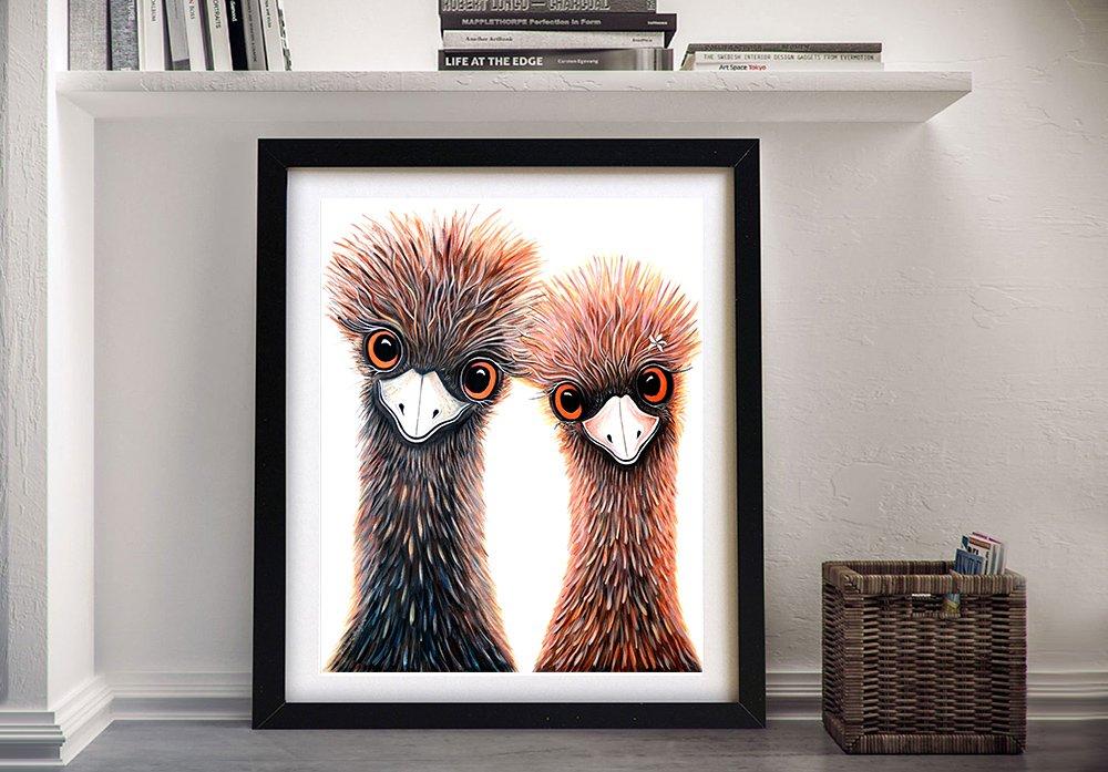 Cute Emu's Wall Art Great Gift Ideas AU