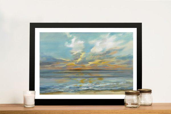 Rhythmic Sunset Waves Framed Canvas Art