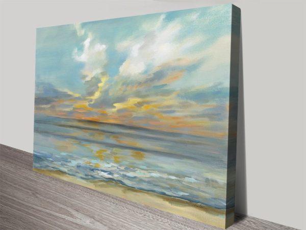 Rhythmic Sunset Waves Seascape Art for Sale