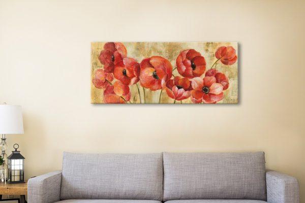 Summer Anemones Panoramic Art on Canvas