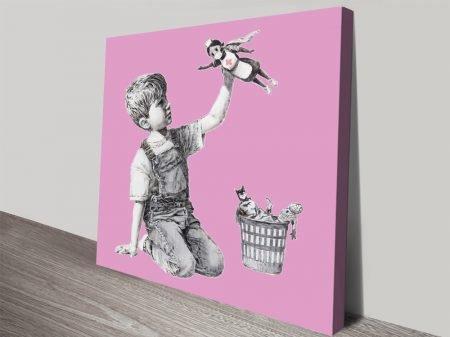 Superhero Nurse in Pink Banksy Artwork