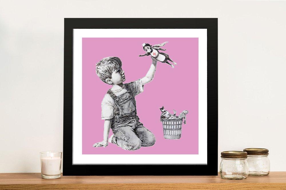 Framed Banksy Superhero Nurse Art AU