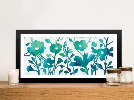 Teal Trio Framed Panoramic Floral Artwork