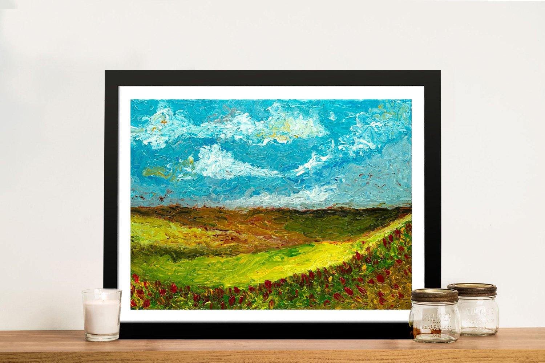 Burnt Sienna Framed Abstract Landscape Art