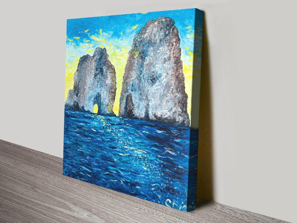 Capri at Sunrise Stretched Canvas Wall Art