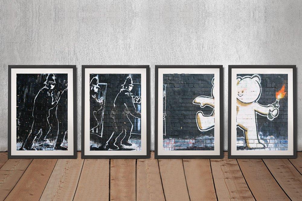 Buy Framed Affordable Banksy Split Panel Prints