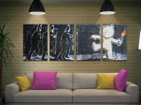 Mild Mild West 4-Piece Bansky Art on Canvas