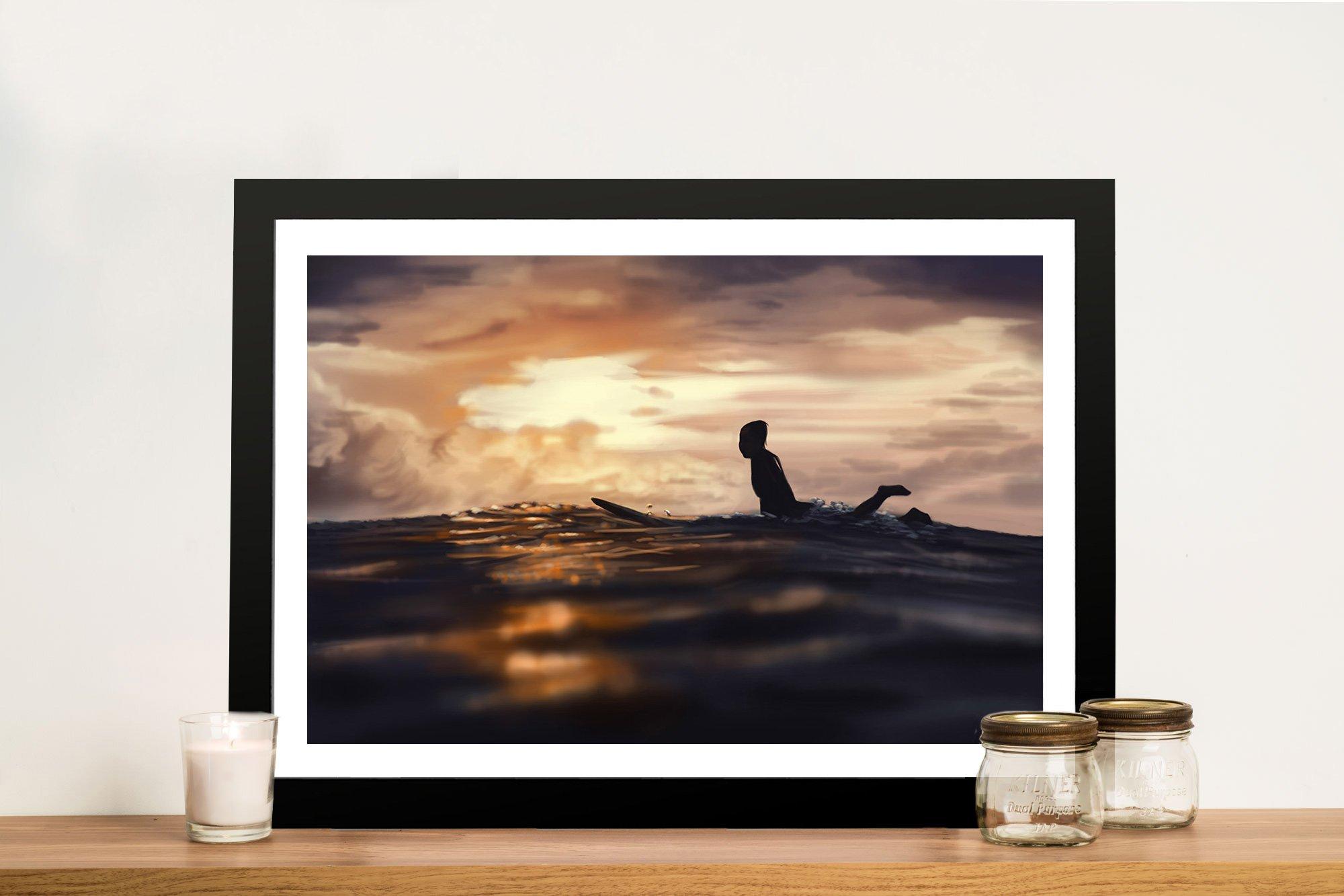 Sunset Surfing Framed Print Gift Ideas for Surfers