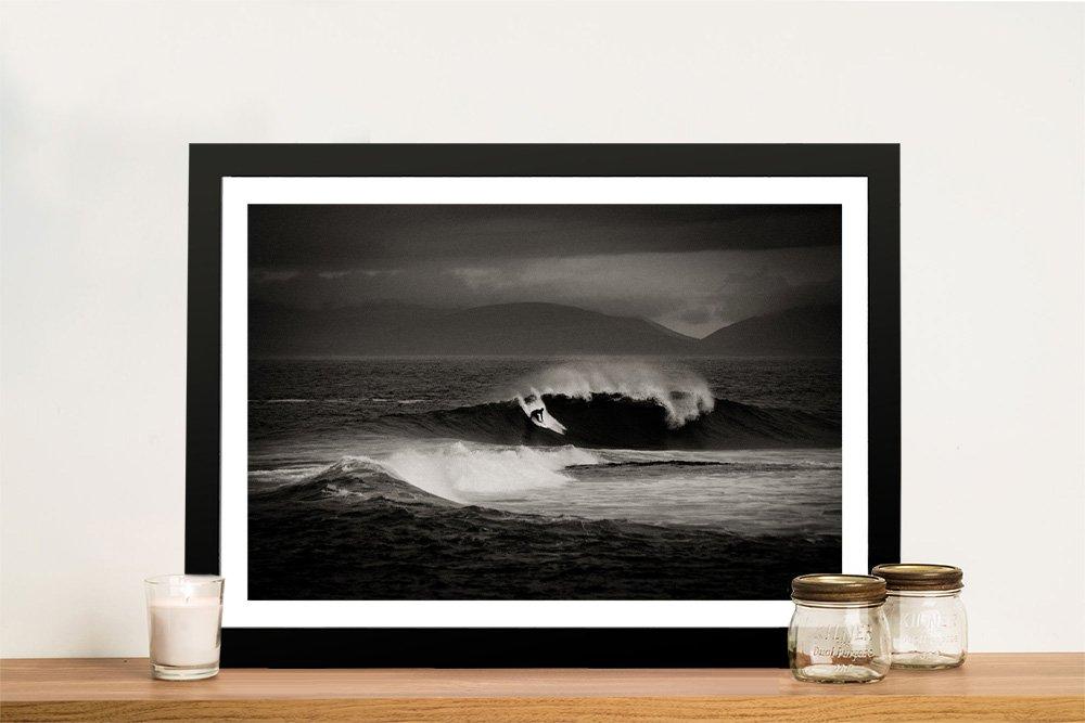 Framed Black & White Surf Canvas Print AU