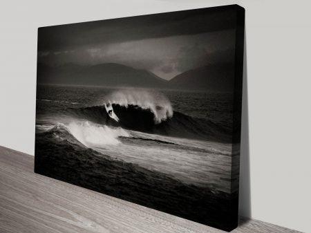 Monochrome Surfscape Print on Canvas